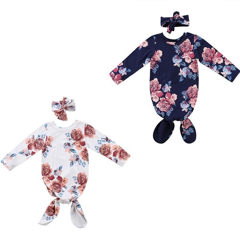 0-18 Mt Babys Floral Strampler Schlafsack Neugeborenen Outfit Swaddle Taschen Strampler Stirnband Set Kleidung Modische Muster