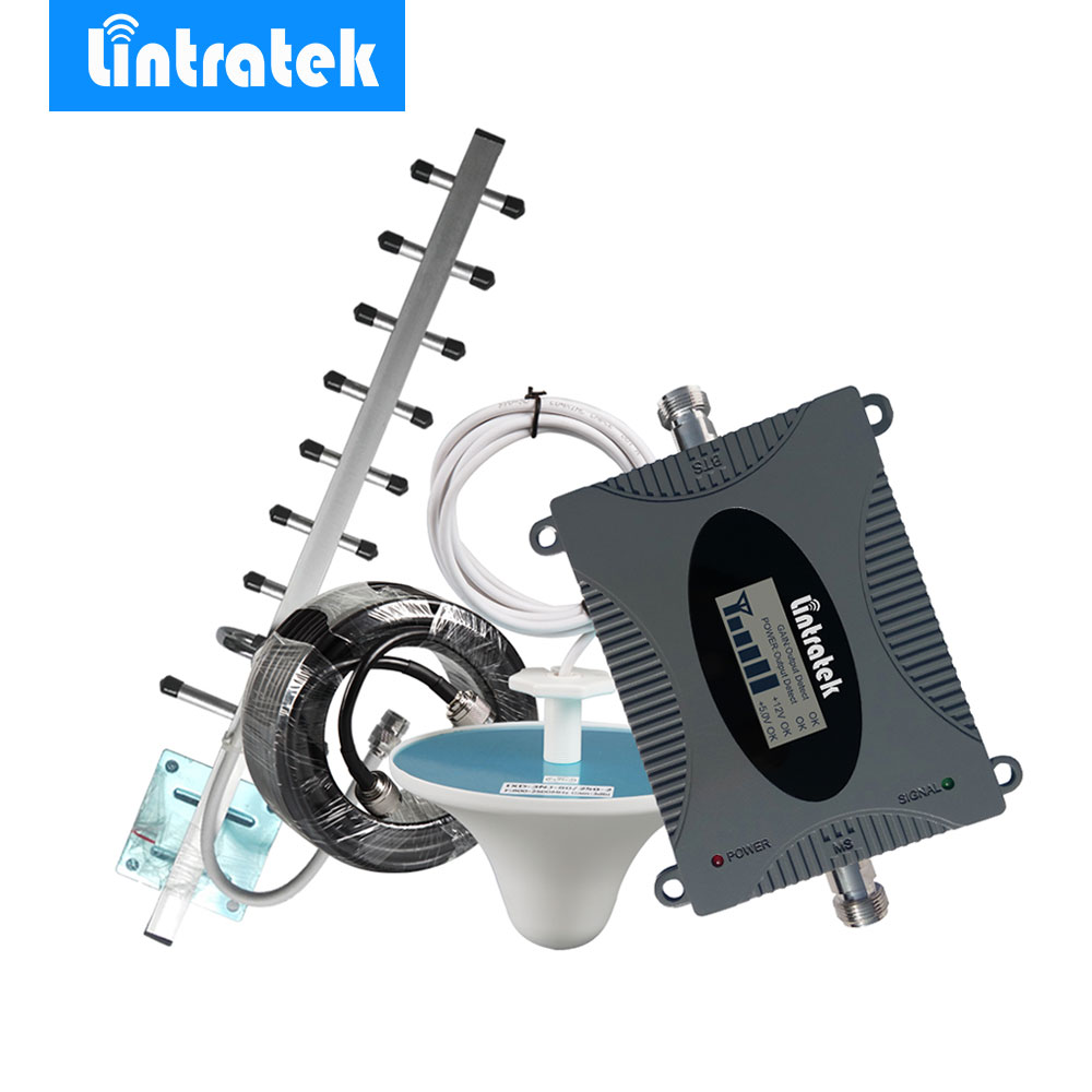 Lintratek 3G Repeater W-CDMA 2100MHz LCD Display Cell Phone Signal Booster UMTS 2100MHz Mobile Phone Signal 3G Amplifier Kit *