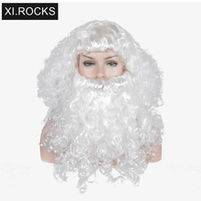 3079 Xi.Rocks White Synthetic Wig Short With Bangs Cosplay For Women Heat Resistant Santa Claus Hair Curly Costume Wigs For Men цена