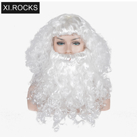 Xi.Rocks White Synthetic Wig Short With Bangs Cosplay Wigs For Women Heat Resistant Santa Claus Hair Curly Costume Wigs For Men