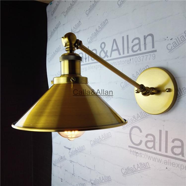 Loft Industrie Wand Lampen Jahrgang Nacht Messing Wandleuchte Lampenschirm E27 Edison 110 V