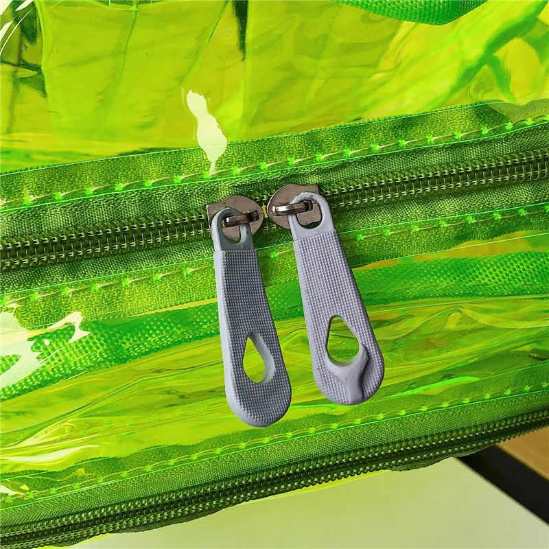 A laser à prova d' água clara pvc mochila holograma transparente mochila escola bags para mulheres homens meninas adolescentes grandes praia pacote de saco trave