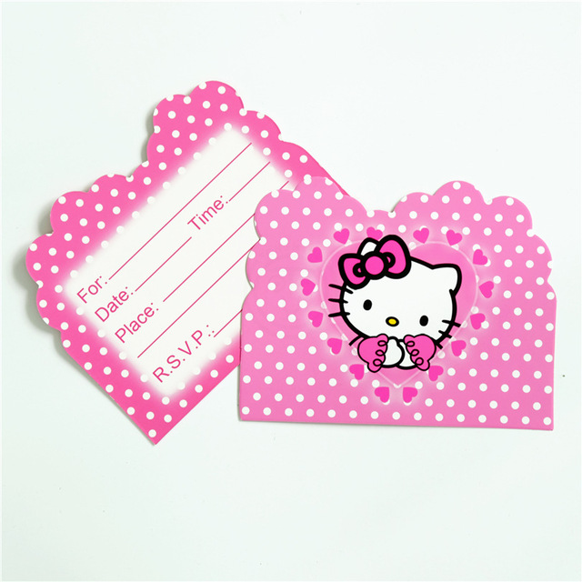 10pcs/lot Cartoon Hello Kitty Theme Party Paper Invitation Card Kids