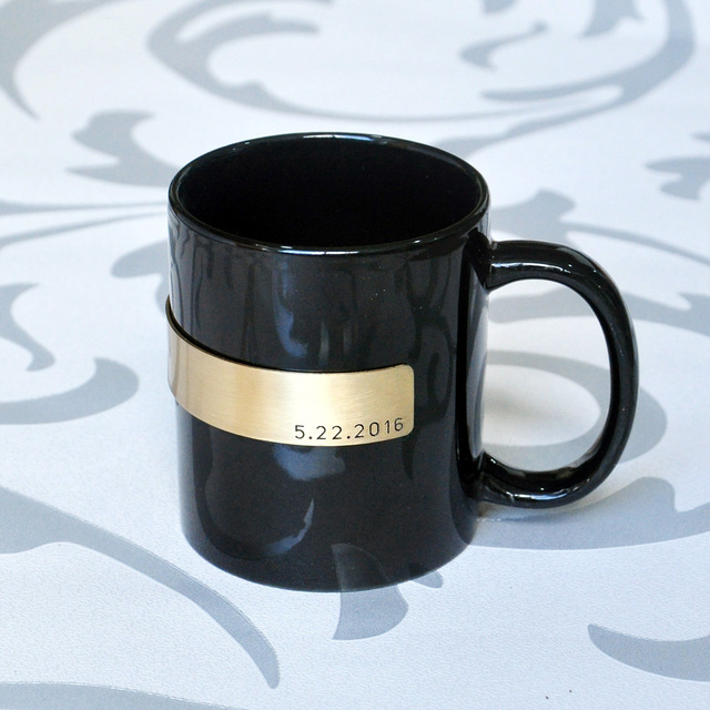 Custom Coffee Mug Cup Clic Black Ceramic Personalized With Date
