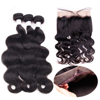 Bling Hair Brazilian Raw Hair Body Wave 3 Bundles With 360 Lace Frontal Remy Huamn Hair