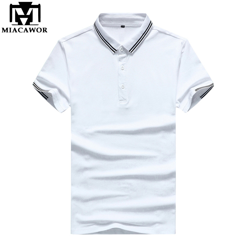 MIACAWOR New Solid Colors Men   Polo   shirts Summer Short-sleeve Business White   Polo   shirts Casual Homme MT658