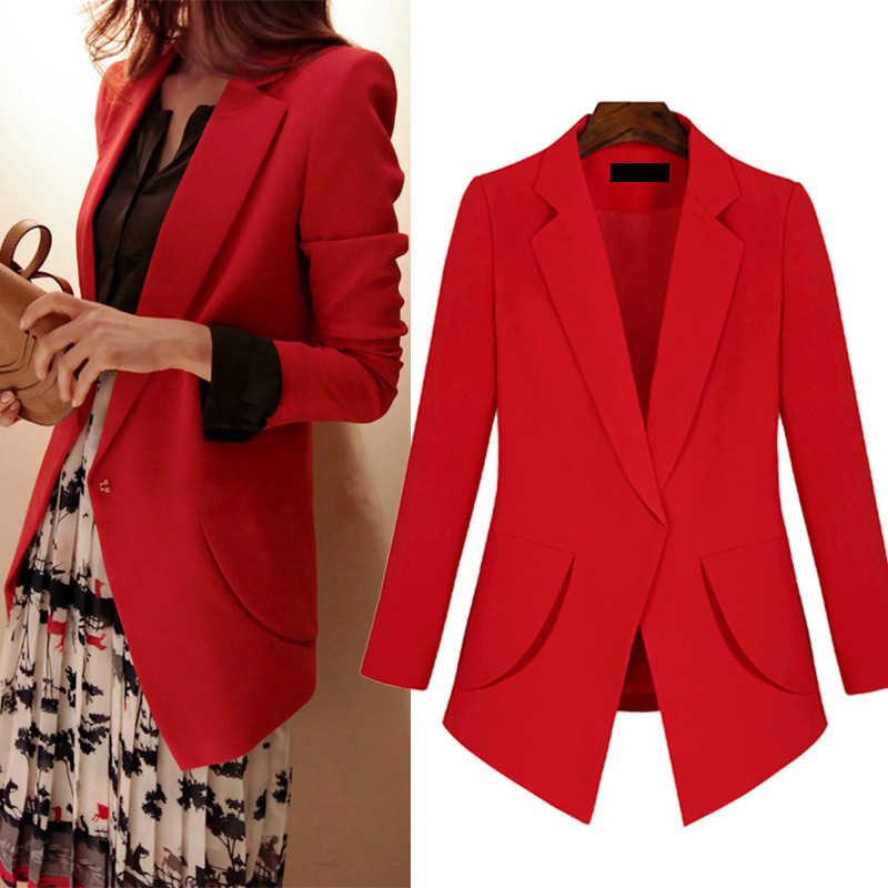 Blazers women XL-5XL plus size red black female European and American long-sleeved spring and autumn single button blazers JD179