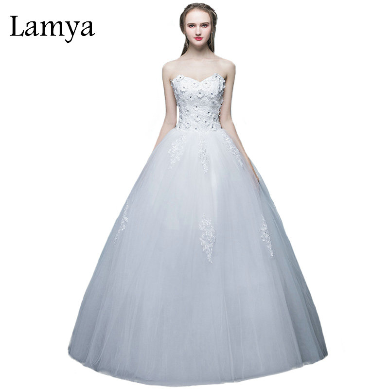LAMYA Cheap Appliques Ball Gown Wedding Dress Sweetheart Plus Size Bride Dresses Fashionable vestidos de noiva Backless Gowns