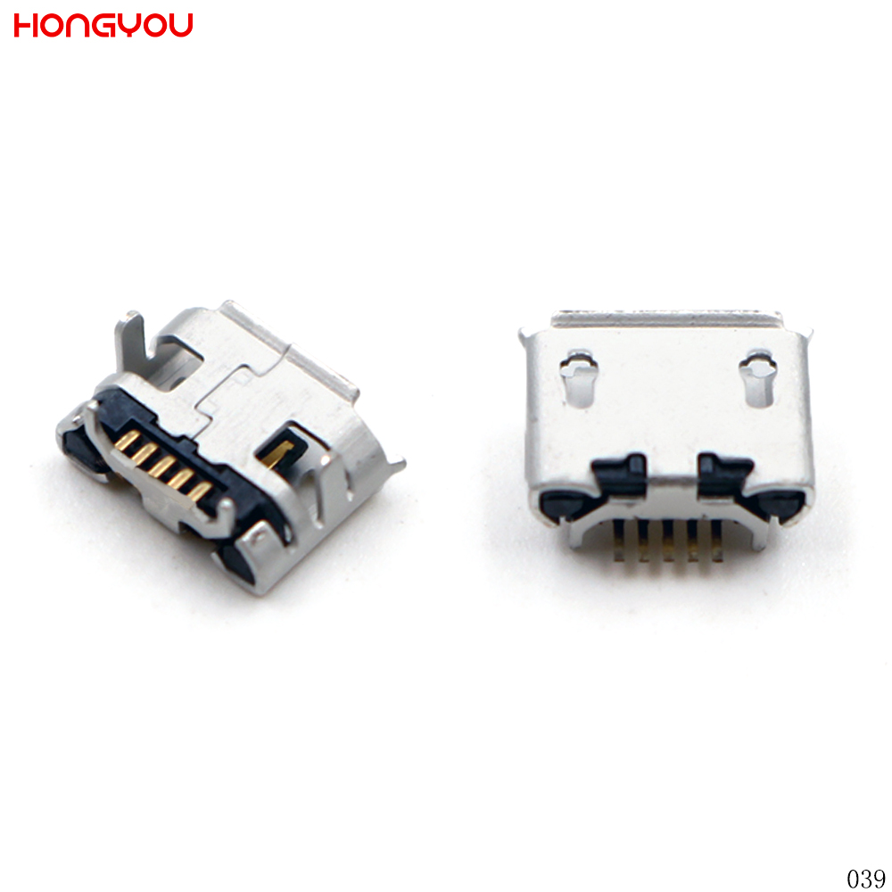 100PCS/Lot Micro USB 5Pin For Mobile Phone Ox Horn Charge Jack Port Female Socket Plug Charging Connector