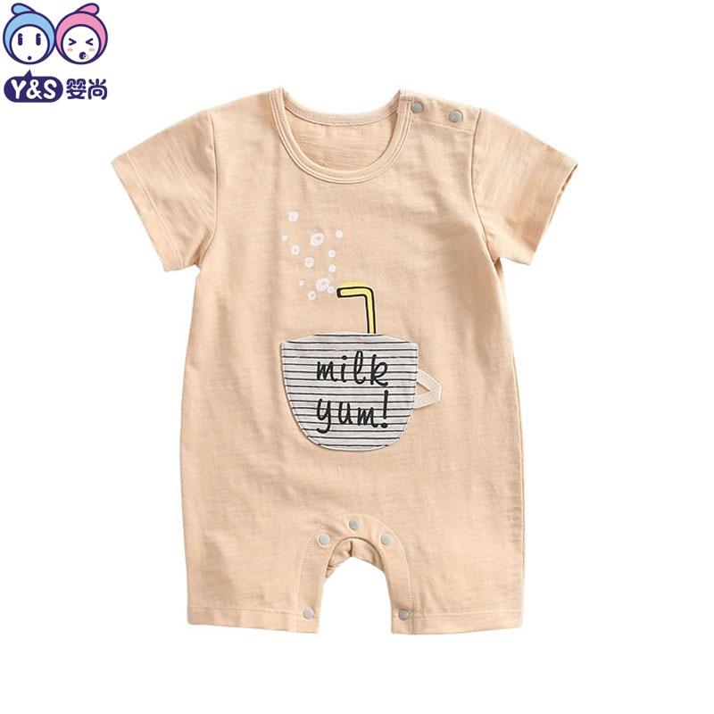 Для маленьких мальчиков летние комбинезоны для младенцев 2018 Костюмы твердые милые хлопчатобумажные желтого цвета хаки Onesie новорожденных м...