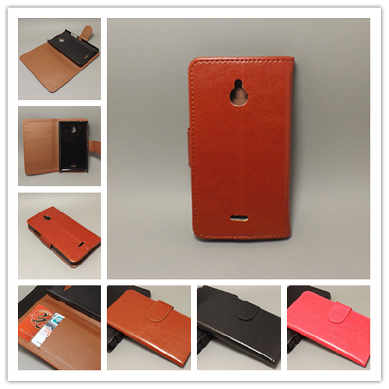 Crazy horse wallet case hold two Cards with 2 Card Holder and pouch slot For Nokia X2 X2 Dual SIM X2DS
