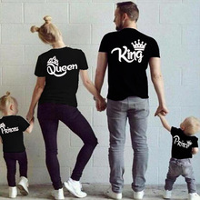 Family Matching Outfits KING QUEEN PRINCE PRINCESS Print Family Funny Looking Tshirt O-neck Short Sleeve Cotton Couple Tee Top