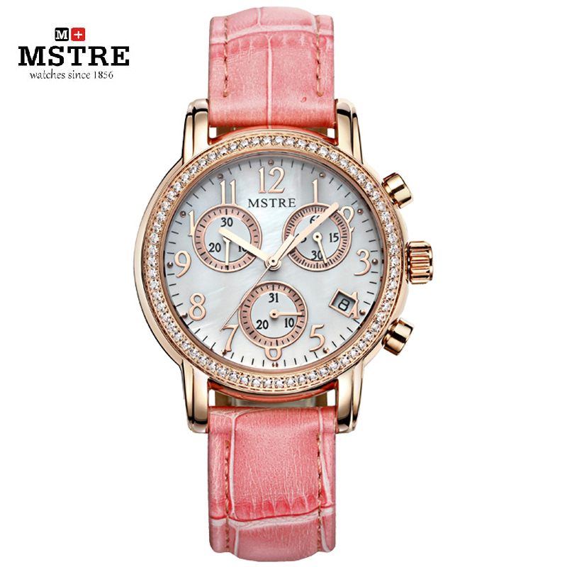 Brand Fashion Luxury Dress Watch Women Quartz Watch Leather Strap Diamond Wristwatches Ladies Waterproof 100M Calendar