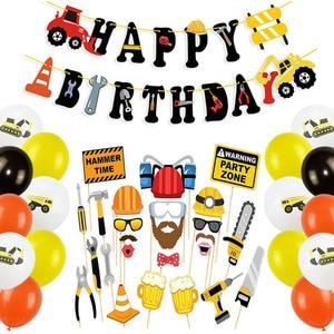 Image 1 - Ciągnik budowlany temat koparka nadmuchiwane balony ciężarówka pojazd banery Baby Shower dzieci chłopcy materiały urodzinowe