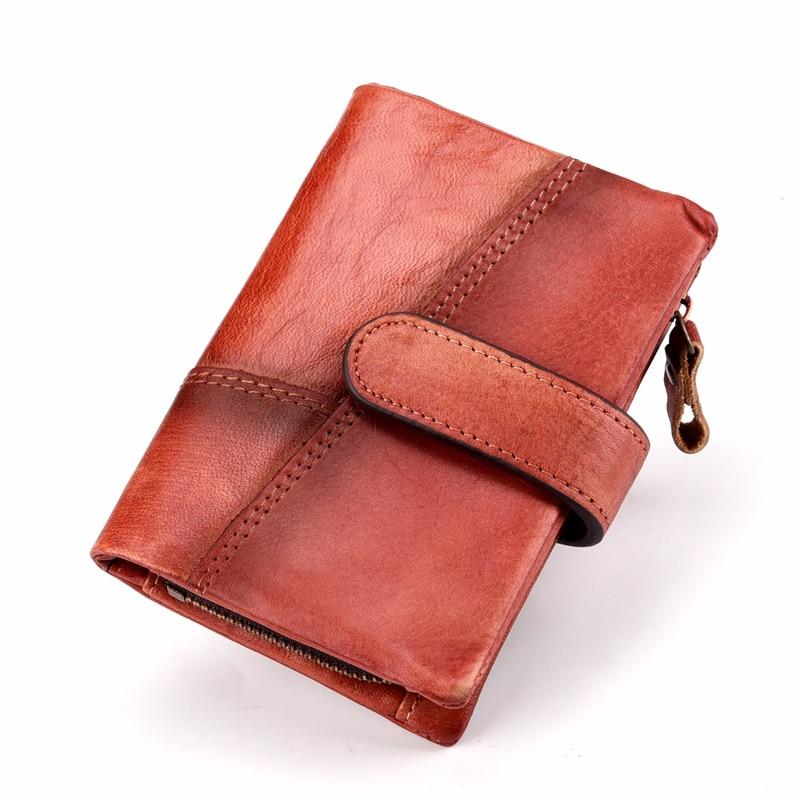 В стиле ретро из натуральной кожи Для мужчин кошельки Высокое качество известная марка Засов Дизайн мужской Walet держатель для карт для Для ж...