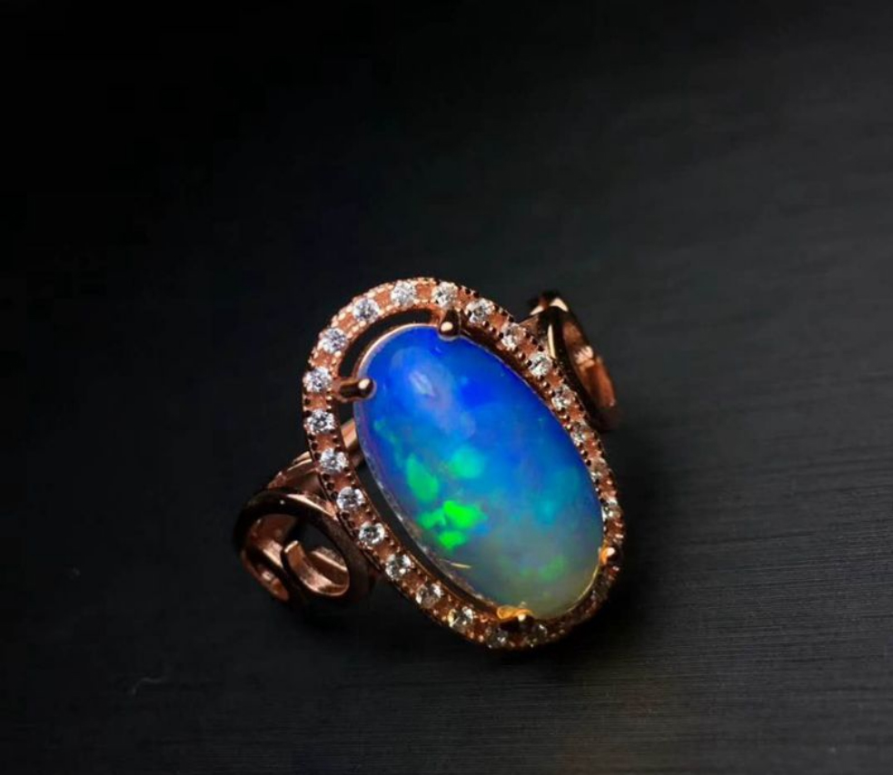 925 Sterling Silver Oval Opal Wedding Ring for Women Natural Gemstone 7 x 14 mm Adjustable Size