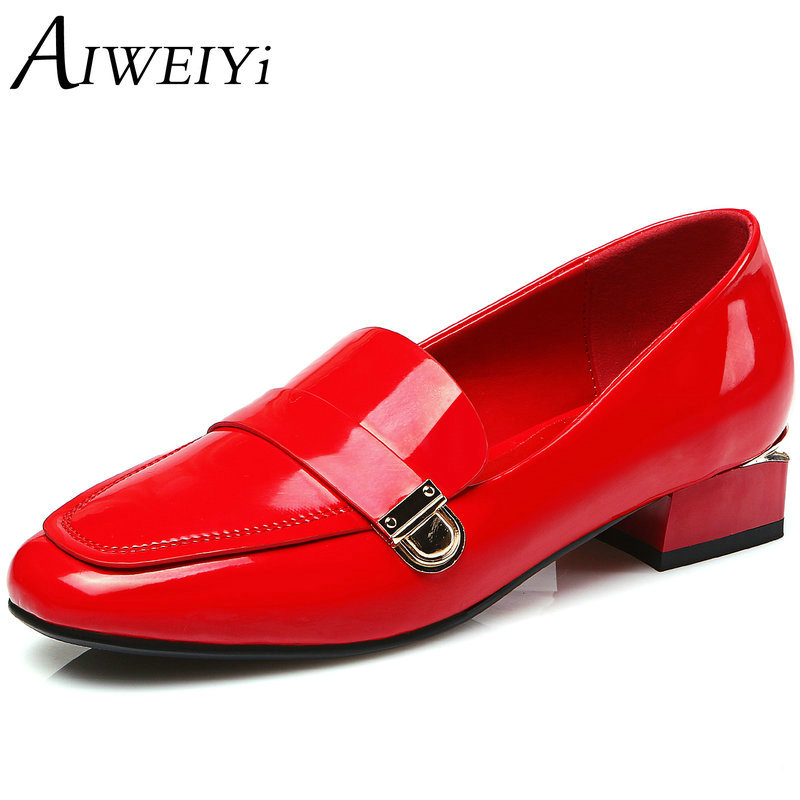 AIWEIYi Women Pumps Square Low Heel Pointed Toe Platform Shoes Patent Leather Black Red Ladies Wedding Shoes Size 34-39 2015 fashion women pumps high heel pointed toe shoes soft leather elegant ladies wedding shoes red black size 34 40