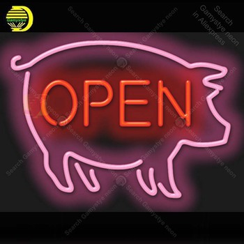 Neon Sign for Pig Open Neon Light Neon Bulb sign Beer Bar Display club Hotel handcraft glass tube light Decorate lamps for sale