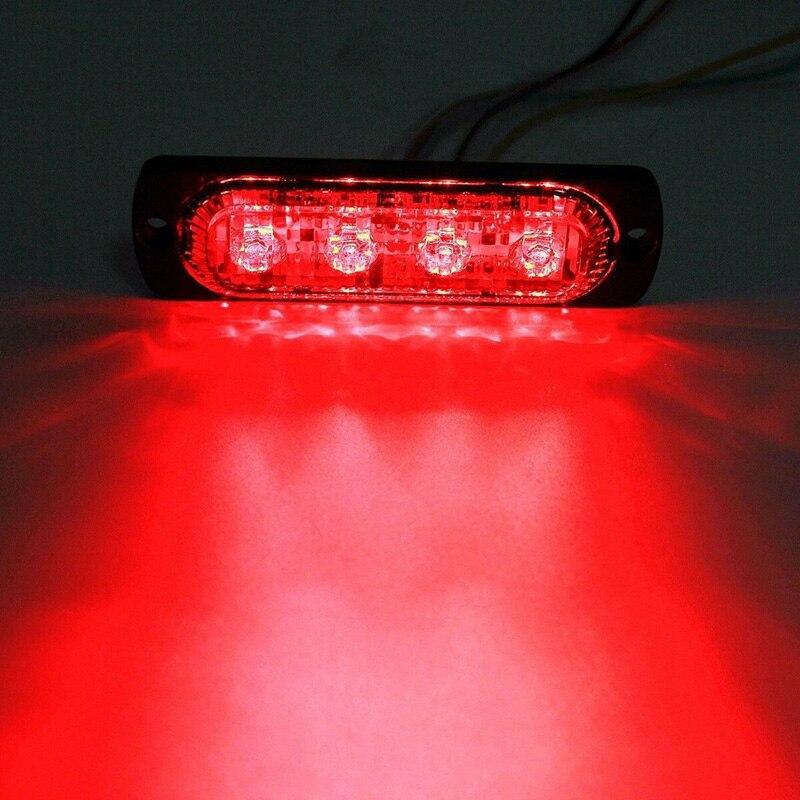 12V-24V 12W 4LED Safety Urgent Working Fog Red Light Lamp For Off-Road/Car/Truck