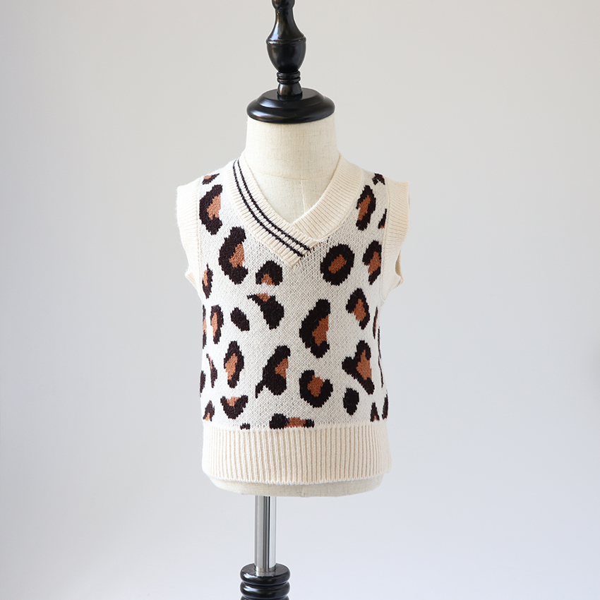 Children's Sweater 2019 Spring And Autumn Baby Leopard Vest Sweater Girl Boy Sweaters