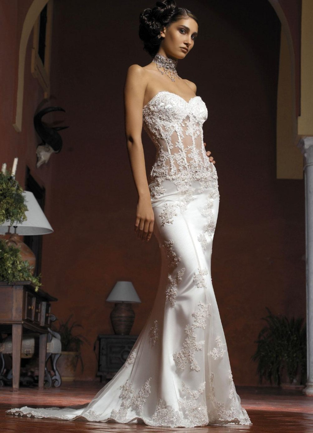 Strapless Bride Y Backless Lace Mermaid Wedding Dress Slim Fit Train Dresses A717 In From Weddings Events On Aliexpress