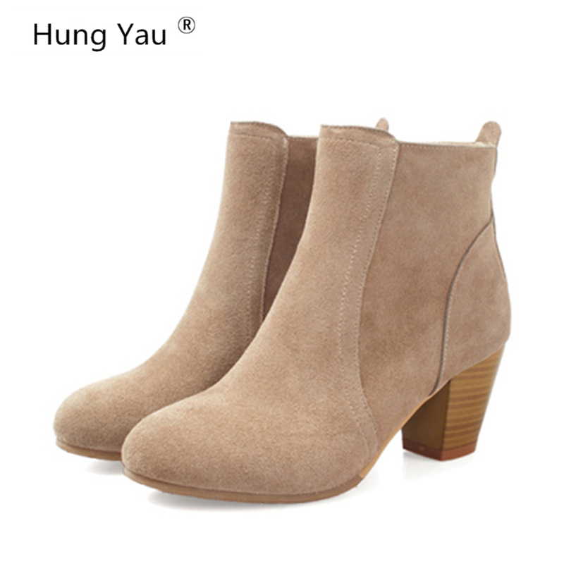 Hung Yau Autumn Winter Shoes For Women Boots Solid Ladies Shoes Martin Boots Suede Leather Ankle Boots Thick Heel Plus Size 9 bottes femmes 2017 autumn fashion martin boots leather shoes woman platform square medium heel ankle boots for women plus size