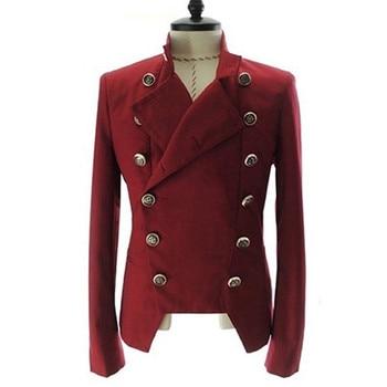 Men's Fashion European Style Double-breasted Casual Lapel Slim Suit Blazer Coat