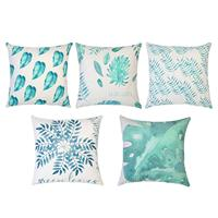 ABKM Hot 18 X 18 Inch Teal Leaf Cushion Cover Microfiber Decorative Square Throw Pillow Cases For Sofa Bedroom 1  With Invisible Pillow Case    -