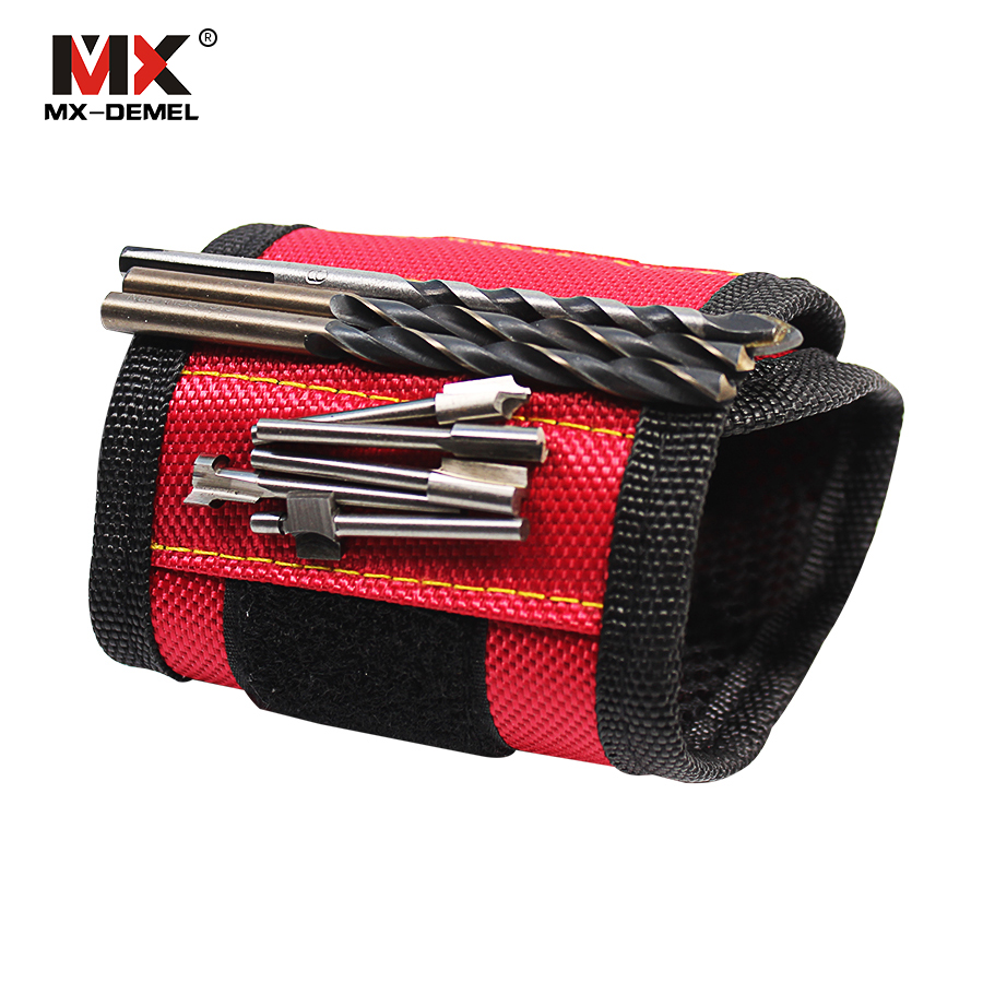MX-DEMEL Strong Magnet Wristband Tool Adjustable Tool Wrist Bands for Screws Nails Nuts Bolts Hand free Drill Bit Holder цены