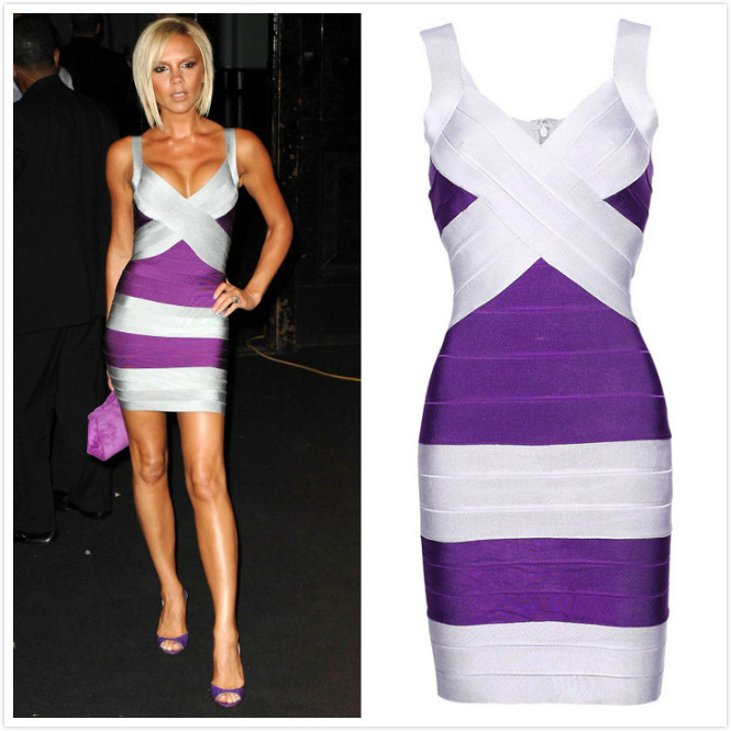 Best Design Free Shipping V Neck Gray Purple Rayon And Nylon Striped Celebrity Victoria Evening Bandage Dress H008