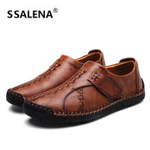 Men British Style Casual Shoes Leather Handmade Business Flats Shoes Male Soft Breathable Comfortable Loafers Shoes AA11552