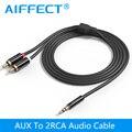 AIFFECT Divisor de Jack de 3.5mm para 2 RCA Cabo de Áudio AUX 3.5mm macho estéreo para 2 rca macho adaptador speaker cable 1 m 1.5 m 2 m