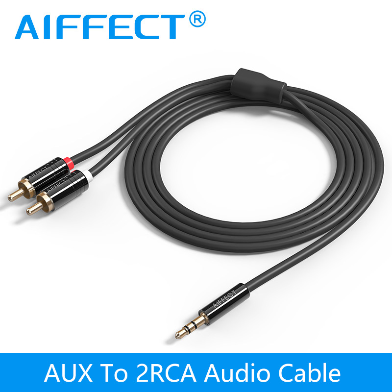 AIFFECT Jack 3.5 mm to 2 RCA Audio Cable AUX Splitter 3.5mm Stereo Male to Male 2 RCA Adapter Speaker Cable 1m 1.5m 2m