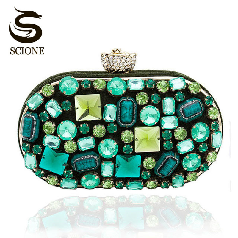 Luxury Women Evening Clutch Bags Emerald Jewelry Clutch Bags Beaded Green Clutches Lady Wedding Party Banquet Bags Purses 845tp retro 2017 floral beaded handbag women shoulder bags day clutch bride rhinestone evening bags for wedding party clutches purses