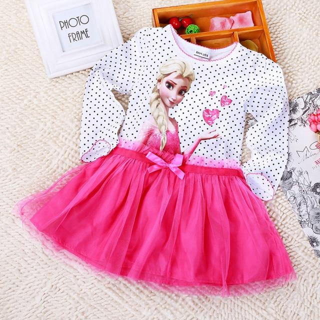 Nueva otoño invierno bebé niña volante vestido de fiesta de la princesa del 3 colores rosa azul púrpura de malla ruffles cartoon impreso envío ...