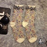 Women Socks Sale 2016 High End Handmade Custom Girl Socks Tide Brand Totem Folk Style Diamond