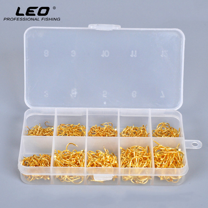 500pcs/box Leo Fishing Hooks Exquisite Golden Anti Corrosion Flat Headed Spines Freshwater Fishing Gear Accessories Sharp Barbed