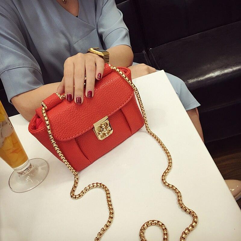 Mode nouveau lockbutton chaîne mini sac vintage épaule messenger sac de femmes petit sac à main de couleur de sucrerie chaîne