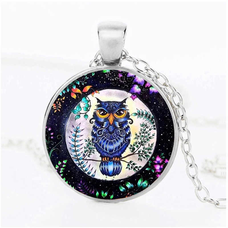 Simple Design Punk Style Necklace Glass Cabochon Owl Flower Plant Necklaces & Pendants Women Party DIY Picture Jewelry