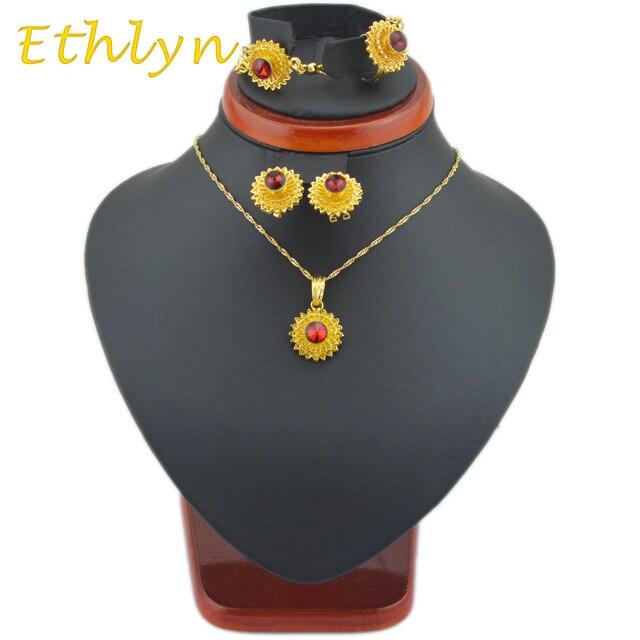 Ethlyn небольшой размер женщин Эфиопии ювелирных изделий устанавливает 24 К позолоченные горный хрусталь браслет/серьги/кольца/подвеска/цепочки, ювелирные наборы