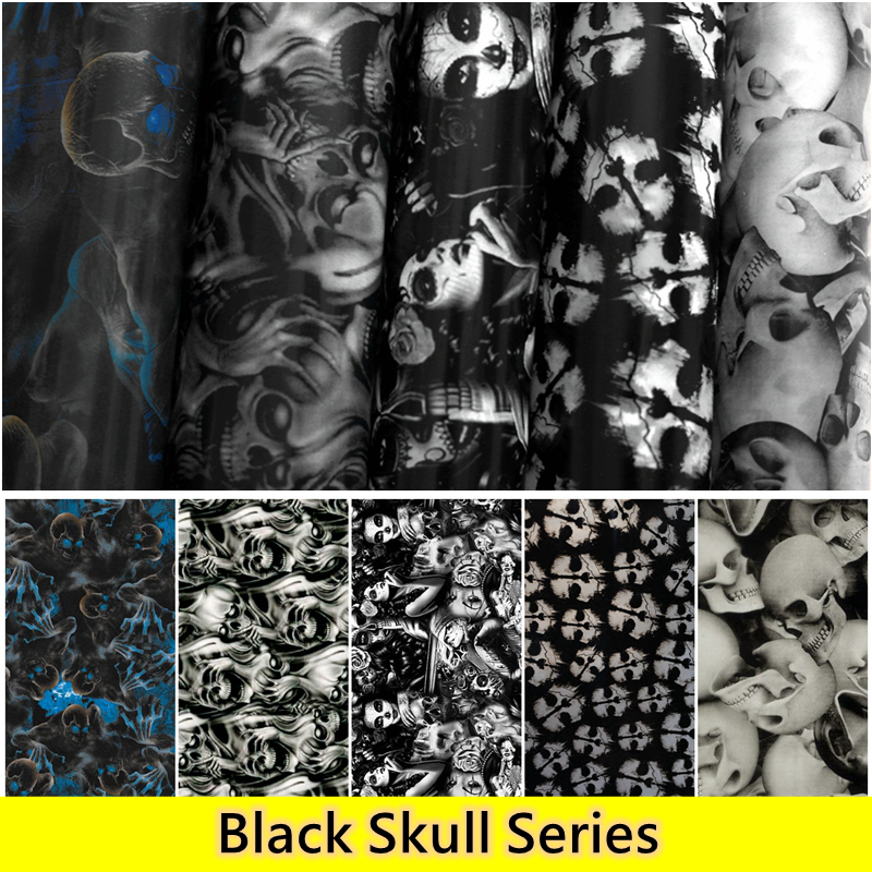 Free Shipping !!Black Skull Water Transfer Printing Film Hydrogarphic Films Aqua Film 0.5M Wide Car Decoration Material