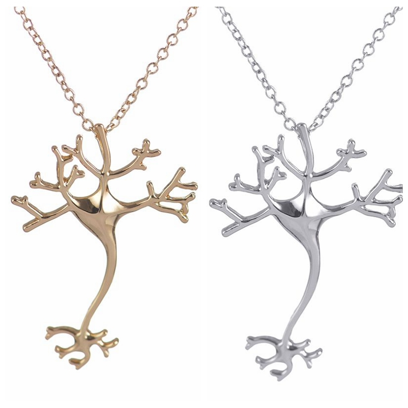 Oly2u 2017 New Fashion Science smykker Hippie Chic Neuron Brain Nerve Cell Necklace Colar Boho Neuron Halskæder til Kvinder-N197