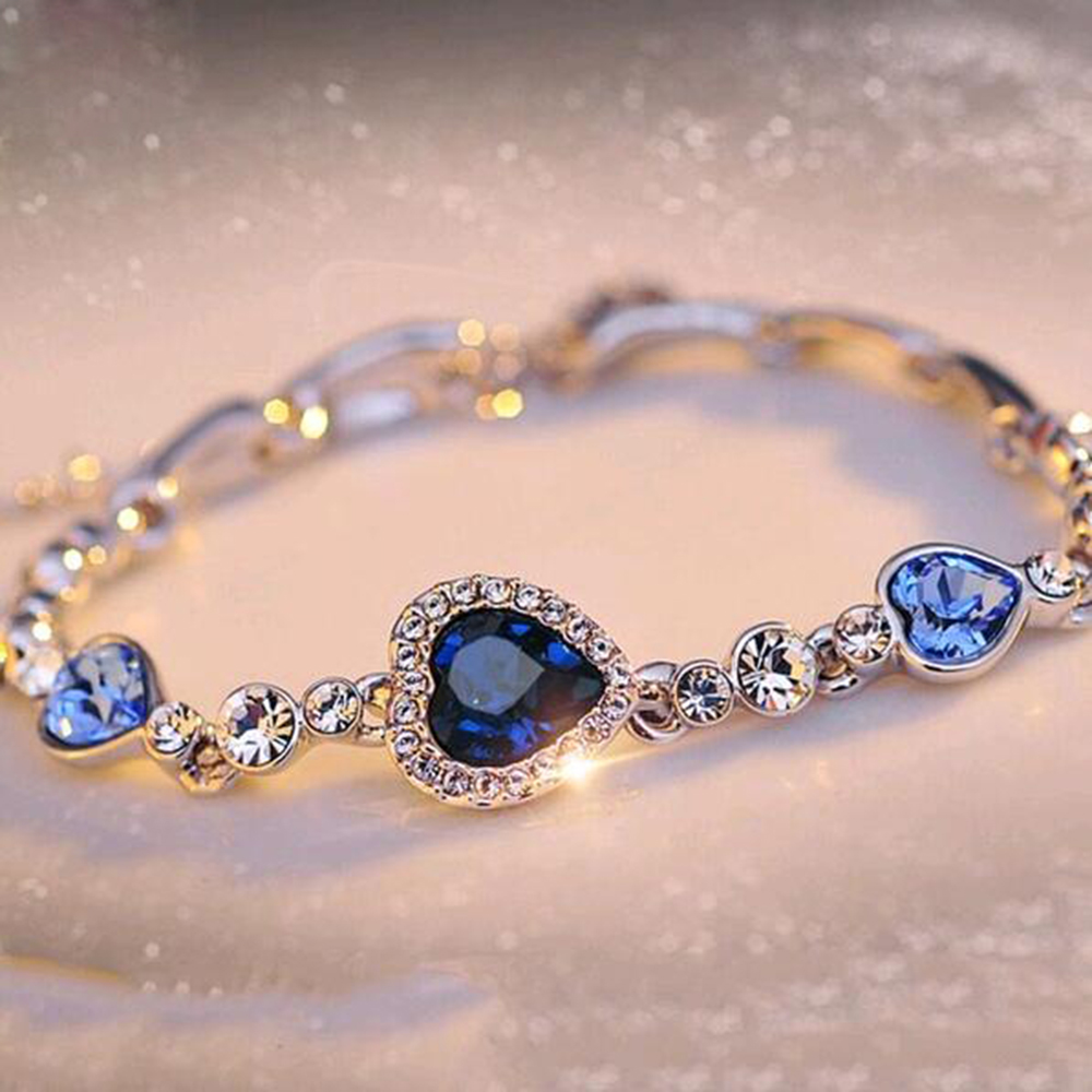 FAMSHIN Hottest Womens Ladies Crystal Rhinestone Bangle Ocean Blue Bracelet Chain Heart Jewelry Party Gifts