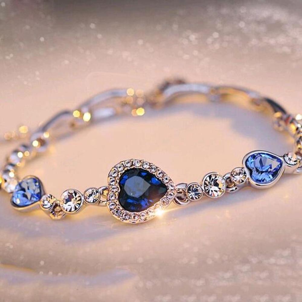 FAMSHIN хит продаж Женский браслет из горного хрусталя морской синий браслет цепочка сердце ювелирные изделия вечерние подарки