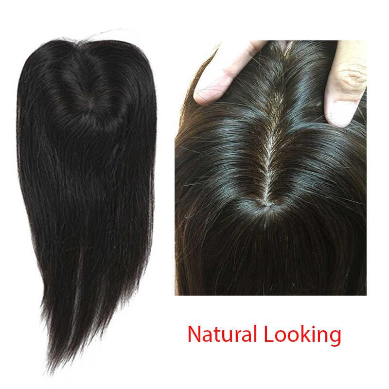 Toupee волосы для женщин бразильские девственные 100% человеческие волосы Клип Ins 2,5x4 дюймов Dolago 1 шт. Натуральный Цвет 130% увеличение объема