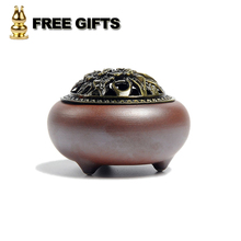 Ceramic Incense Holder 2 Colors Alloy Cover Vintage Retro Chinese Incense Burner Censer for Home Living Room Office Teahouse