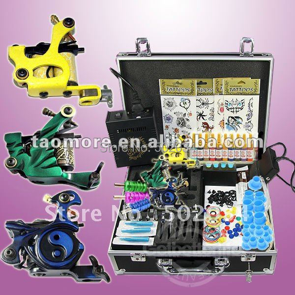 ФОТО USA Dispatch Complete Pro Tattoo Kit 3 Machine Guns LCD Power 10 Inks Colors Needles Tips Grips Equipment Set Supplies