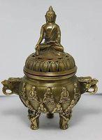 NICE CHINESE OLD 14 cm * / Chinese folk collection of brass Buddha dragon censer Garden Decoration Brass brass