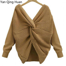 Yan Qing Huan Autumn And Winter Korean Womens Sweater New Sexy Deep V-neck Cross Knotted Long-sleeved Pullover