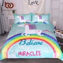 BeddingOutlet Unicorn Bedding Set Believe Miracles Cartoon Single Bed Duvet Cover Animal for Kids Girls 3pcs Rainbow Bedspreads(China)